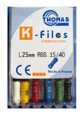  فایل دستی بسته ۶ عددی K-file طول 25 میلی متر برند توماس